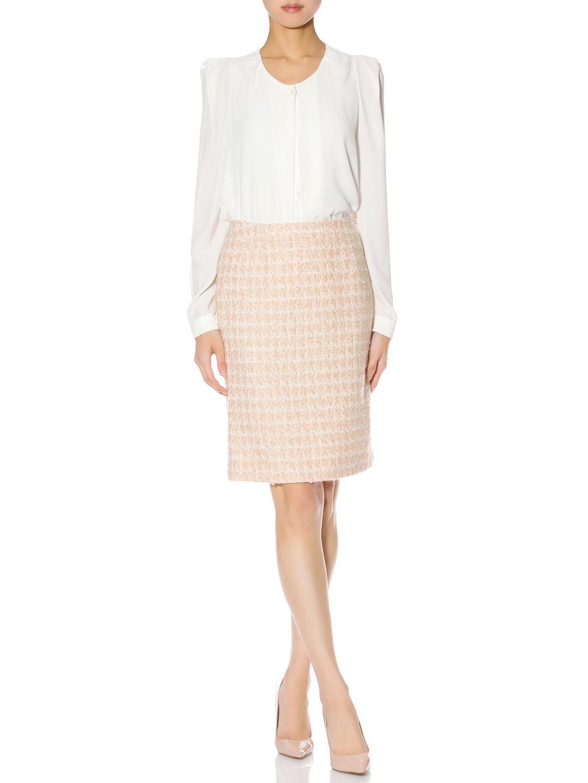 【60%OFF】UMA/ESTNATION モヘヤ混 ツイード チェック タイトスカート ベージュ 38 ファッション > レディースウエア~~スカート