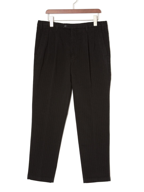 【78%OFF】ストライプ テーパードパンツ ブラック 44 ファッション > メンズウエア~~パンツ
