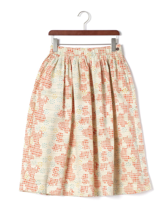 【70%OFF】手織り ブリックxドットプリント ギャザー スカート ピンク l ファッション > レディースウエア~~スカート