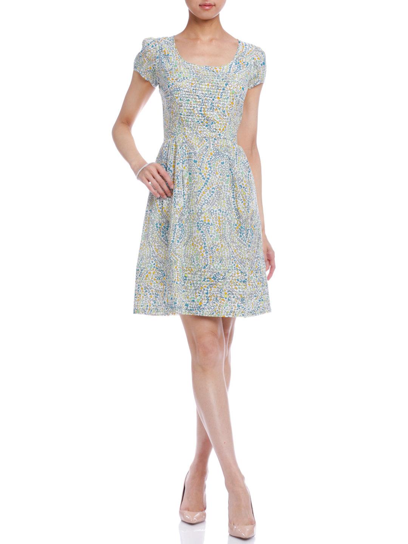 【70%OFF】プリント 半袖ドレス ホワイト 8 ファッション > レディースウエア~~ワンピース