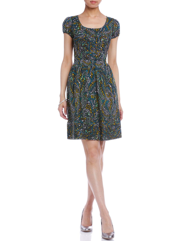 【70%OFF】プリント 半袖ドレス ブラック 10 ファッション > レディースウエア~~ワンピース