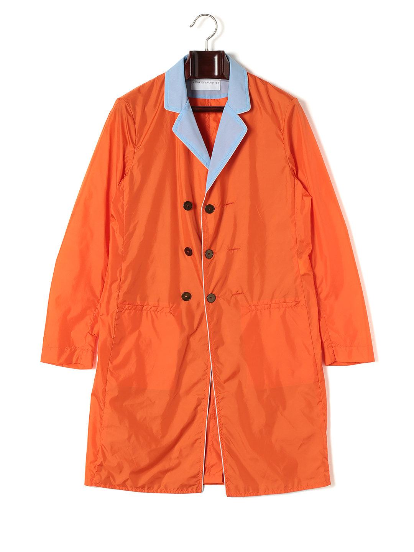 【84%OFF】異素材切替 ダブルブレステッド スプリングコート オレンジ 46 ファッション > メンズウエア~~ジャケット