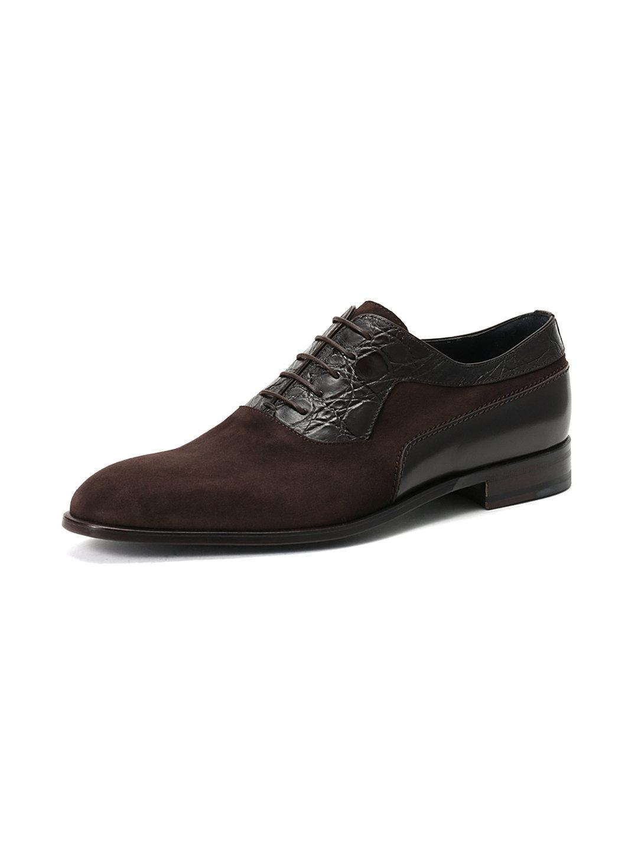 【60%OFF】レザー 切替デザイン 内羽根式 プレーントゥ ダークブラウン 5.5 ファッション > 靴~~メンズシューズ