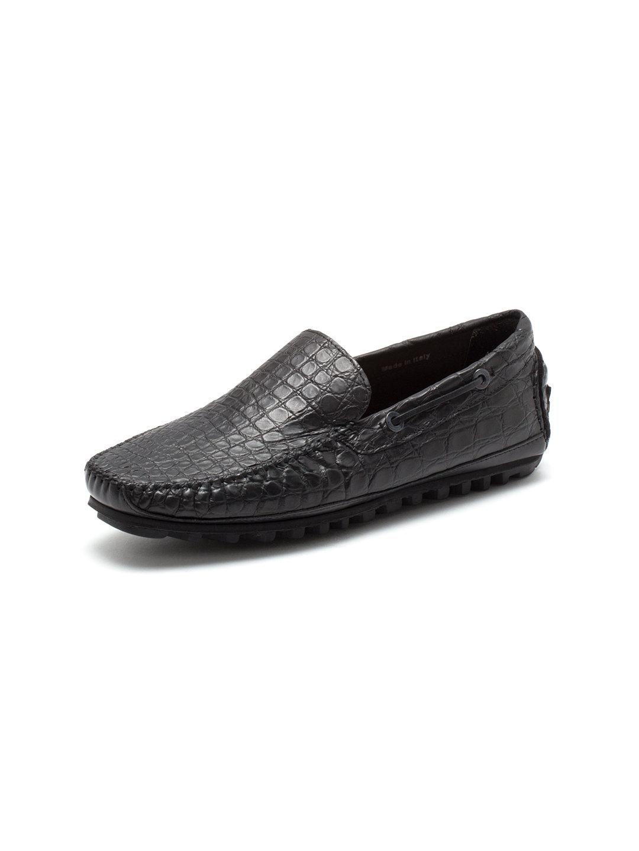 【65%OFF】アリゲーターレザー ドライビングシューズ ブラック 43 ファッション > 靴~~メンズシューズ