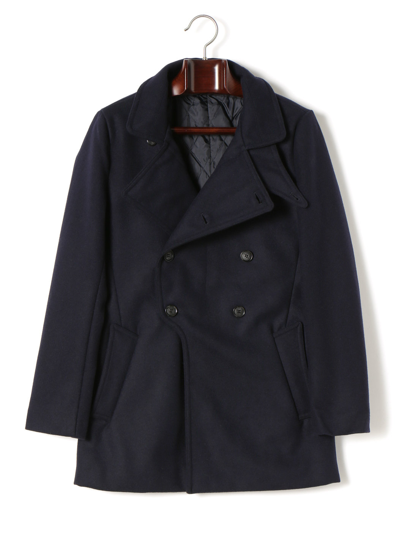 【57%OFF】メルトン ビッグラペル ダブルブレステッド コート ネイビー s ファッション > メンズウエア~~ジャケット
