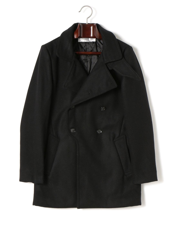 【57%OFF】メルトン ビッグラペル ダブルブレステッド コート ブラック s ファッション > メンズウエア~~ジャケット
