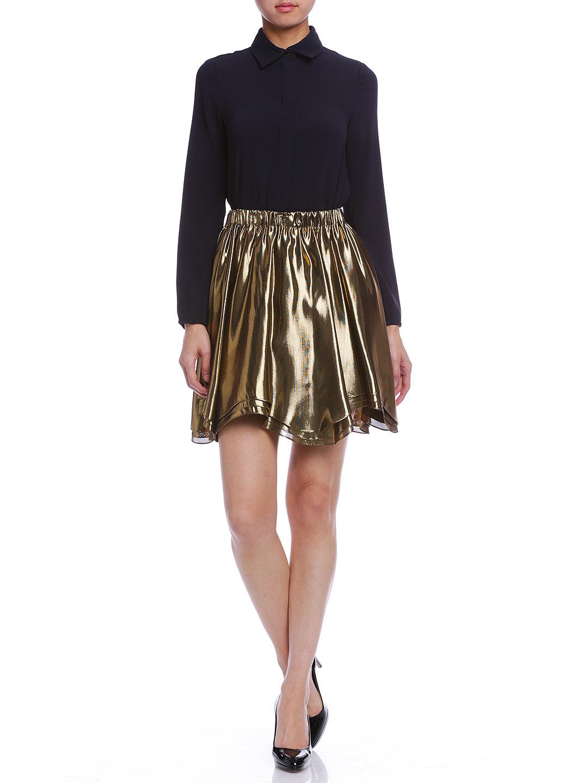 【60%OFF】JULIEN DAVID シルク ティアードヘム スカート ゴールド xs ファッション > レディースウエア~~スカート