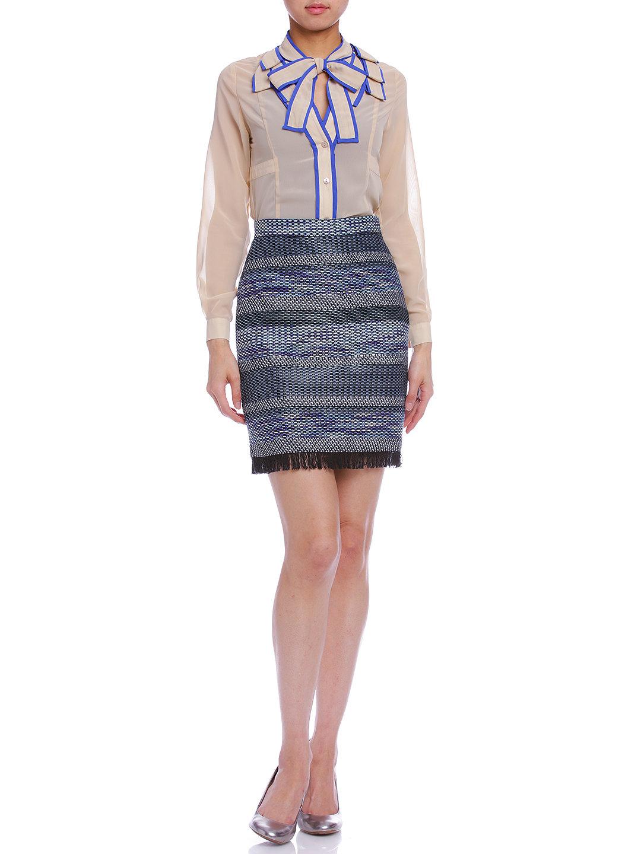 【75%OFF】ファンシーツイード フリンジ タイトスカート ブルー 38 ファッション > レディースウエア~~スカート