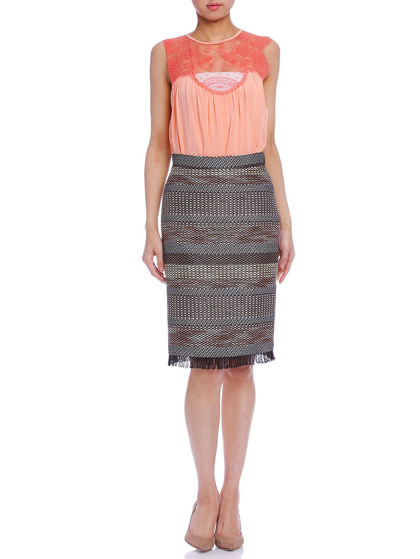 【75%OFF】ファンシーツイード フリンジ ペンシルスカート ミックス 36 ファッション > レディースウエア~~スカート