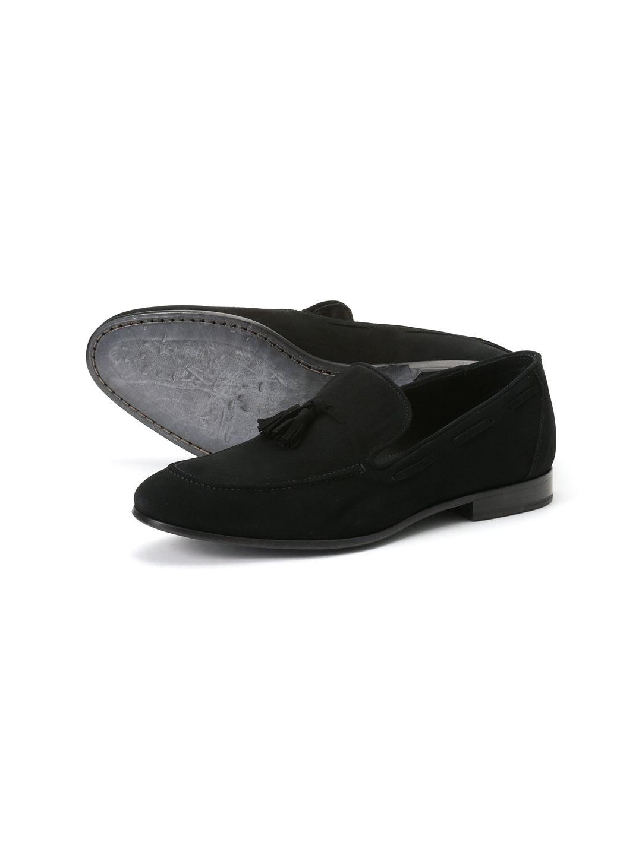 【63%OFF】スエード タッセルローファー ブラック 43 ファッション > 靴~~メンズシューズ