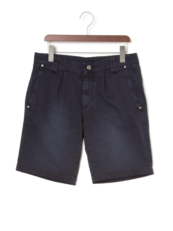 【60%OFF】ウォッシュ加工 タック ハーフパンツ ダークネイビー 46 ファッション > メンズウエア~~パンツ