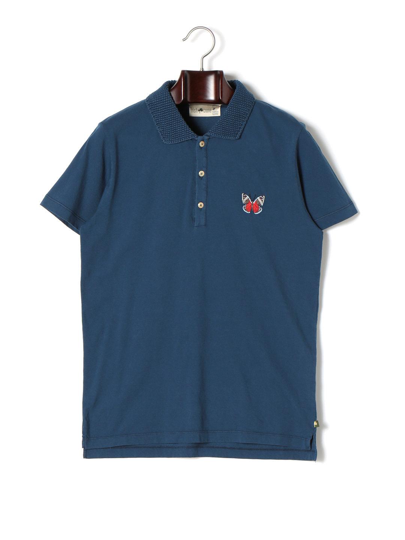 【64%OFF】襟切替 半袖ポロシャツ ネイビーxバタフライ s ファッション > メンズウエア~~その他トップス