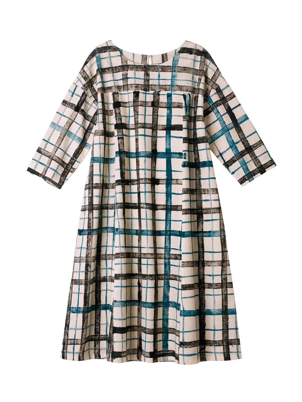 【50%OFF】手織り チェック ドレス ブルー s ファッション > レディースウエア~~ワンピース