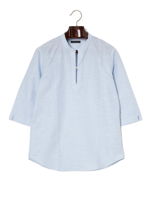 【60%OFF】ESTNATION リネン混 バンドカラー 七分袖プルオーバー ライトブルー m ファッション > メンズウエア~~その他トップス