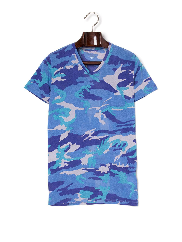【60%OFF】MAJESTIC FILATURES 迷彩 Vネック 半袖Tシャツ ブルー s ファッション > メンズウエア~~その他トップス