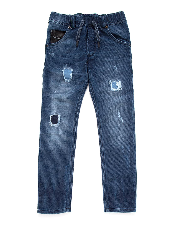 【60%OFF】ウォッシュ&ダメージ加工 ドローコード デニム ブルー 8y ベビー用品 > 衣服~~ベビー服