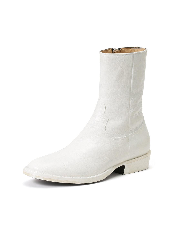 【70%OFF】nonnativexRags McGREGOR レザー サイドジップ ブーツ ホワイト 41 ファッション > 靴~~メンズシューズ