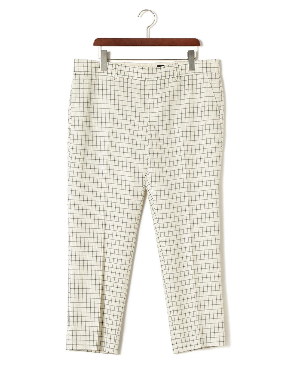 【85%OFF】チェック センタープレス パンツ アイボリー 48 ファッション > レディースウエア~~パンツ