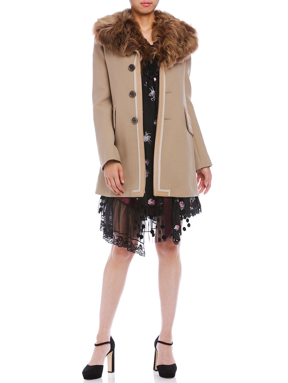 【70%OFF】ラムレザー切替 シープファー襟付 コート ベージュ 00 ファッション > レディースウエア~~パンツ