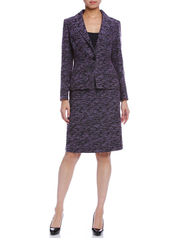 【70%OFF】ツイード セミタイトスカート パープル 38 ファッション > レディースウエア~~スカート