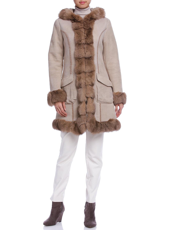 【76%OFF】ムートン フォックスファー フーデッド コート ベージュ m ファッション > レディースウエア~~パンツ