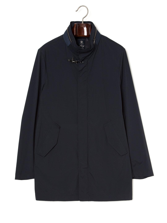 【71%OFF】ストレッチ スタンドカラー 比翼 コート ネイビー l ファッション > メンズウエア~~ジャケット