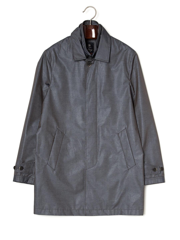 【77%OFF】ステンカラー 比翼 コート ダークグレー s ファッション > メンズウエア~~ジャケット