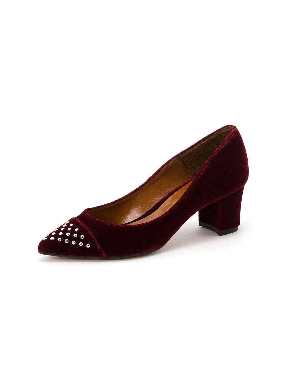 【60%OFF】スタッズトゥ パンプス ワイン 40 ファッション > 靴~~レディースシューズ
