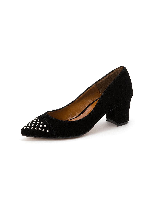 【60%OFF】スタッズトゥ パンプス ブラックスエード 40 ファッション > 靴~~レディースシューズ