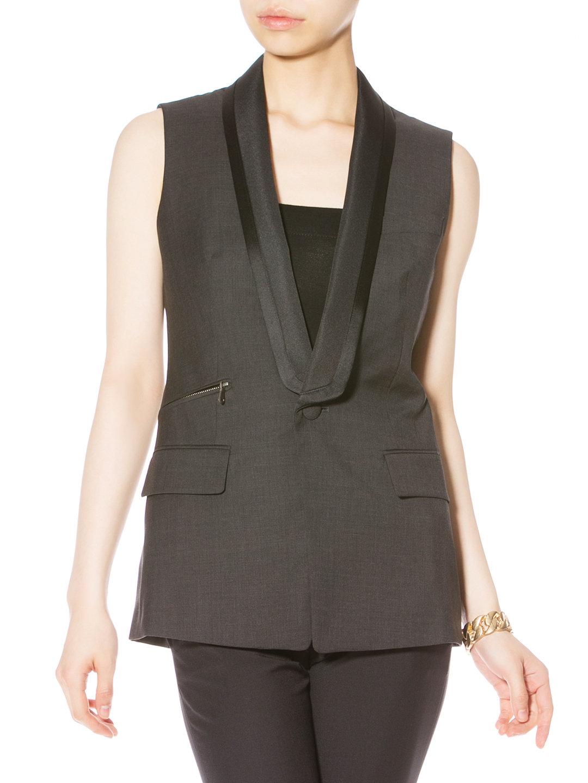 【70%OFF】ジップポケット テーラード ジレ チャコール 42 ファッション > レディースウエア~~ベスト
