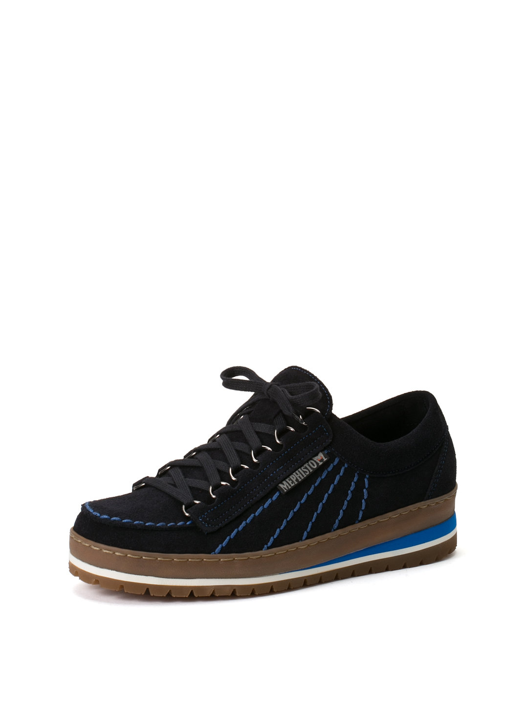 【50%OFF】レザー ステッチ 配色ソール レースアップシューズ ブルー 7.5 ファッション > 靴~~メンズシューズ