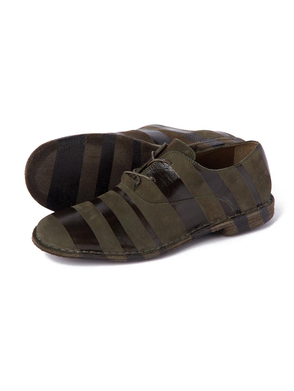 【70%OFF】スエードxレザー ボーダー デザイン レースアップシューズ ブラックxグリーン 40 ファッション > 靴~~メンズシューズ