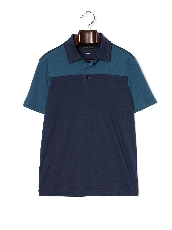 【80%OFF】カラーブロック 半袖ポロシャツ ネイビー/モロッカン l ファッション > メンズウエア~~その他トップス