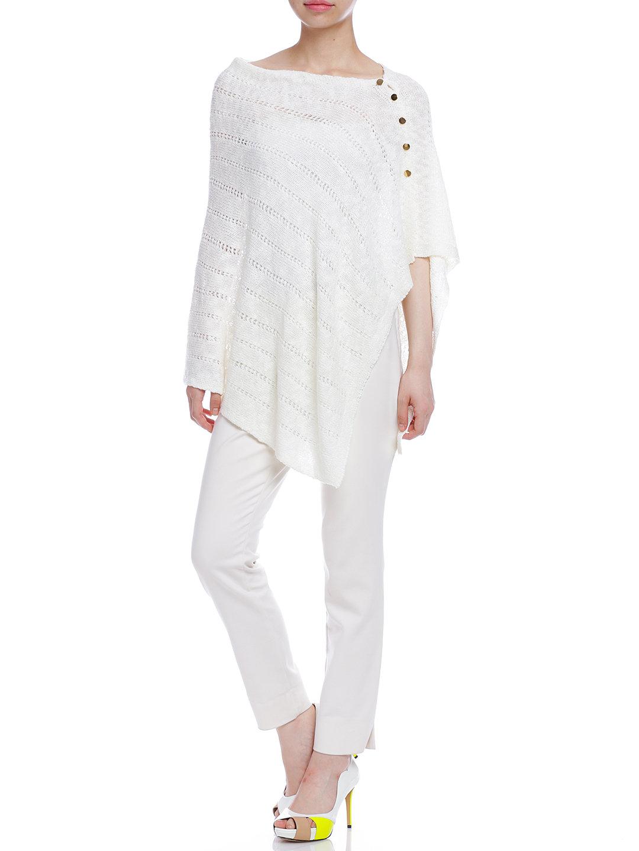 【50%OFF】ZADIE サイドボタン ニットポンチョ ホワイト ml ファッション > レディースウエア~~その他トップス