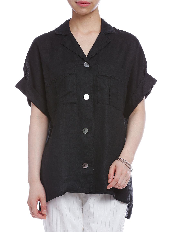 【50%OFF】オープンカラー サイドスリット 半袖シャツ ブラック ファッション > レディースウエア~~その他トップス