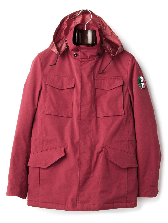 【80%OFF】M-65タイプ 比翼フルジップ フーデッド ジャケット レッド m ファッション > メンズウエア~~ジャケット