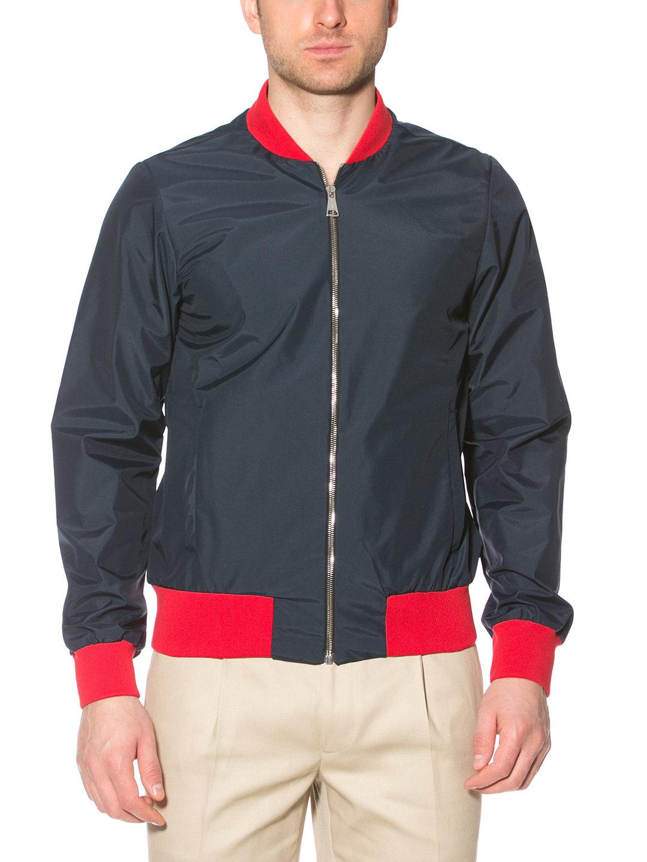 【80%OFF】カラーブロック ジップアップブルゾン ネイビー 44 ファッション > メンズウエア~~ジャケット