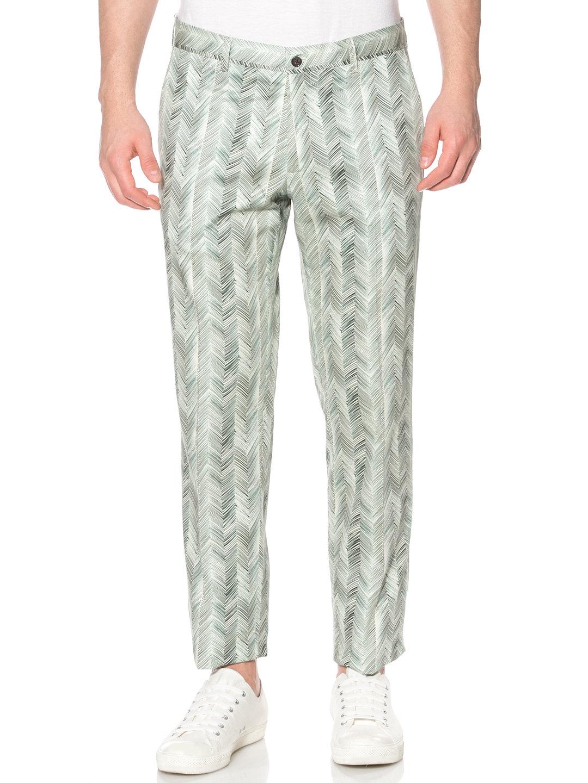 【80%OFF】ヘリンボーンプリント パンツ グリーン 44 ファッション > メンズウエア~~パンツ