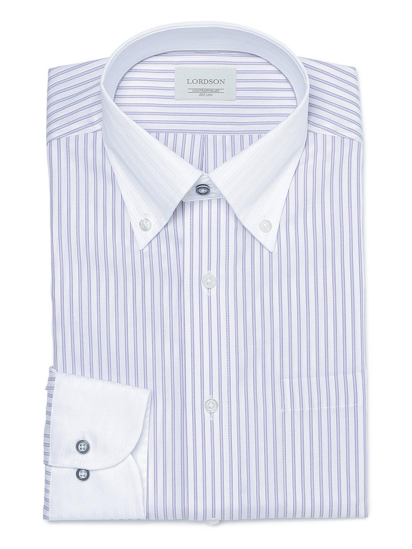 【50%OFF】ボタンダウン 長袖シャツ ホワイトxパープル 40-80 ファッション > メンズウエア~~その他トップス