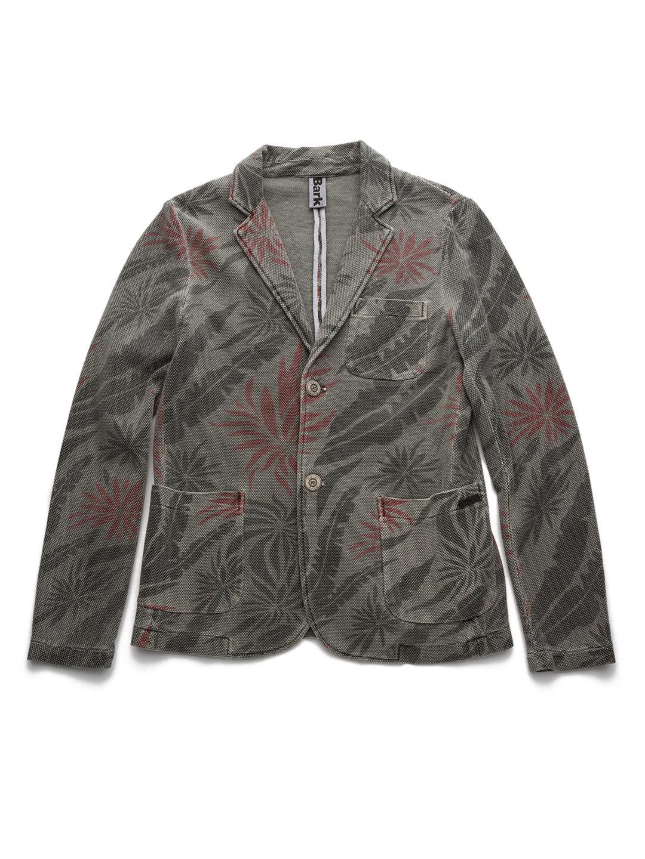 【80%OFF】トロピカルデザイン ニット テーラードジャケット グレー s ファッション > メンズウエア~~ジャケット