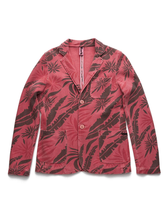 【80%OFF】トロピカルデザイン ニット テーラードジャケット コーラル m ファッション > メンズウエア~~ジャケット