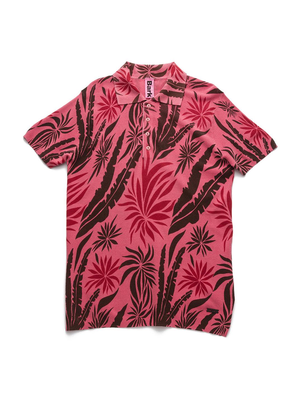 【80%OFF】トロピカルデザイン ニット ポロシャツ コーラル s ファッション > メンズウエア~~その他トップス