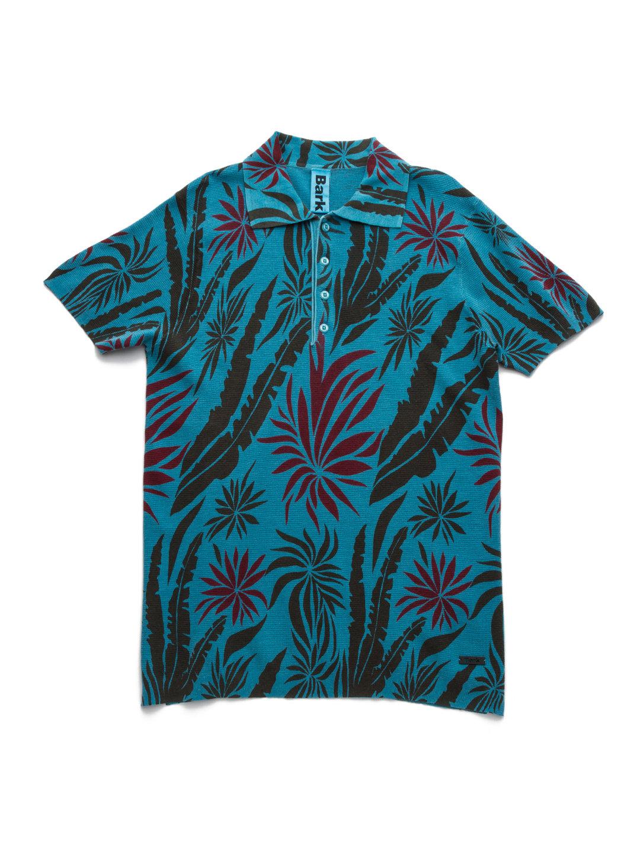 【80%OFF】トロピカルデザイン ニット ポロシャツ ブルーグリーン s ファッション > メンズウエア~~その他トップス
