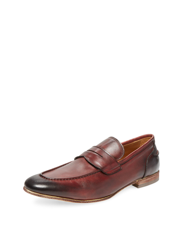 【65%OFF】カーフレザー ローファー ボルドー 9.5 ファッション > 靴~~メンズシューズ