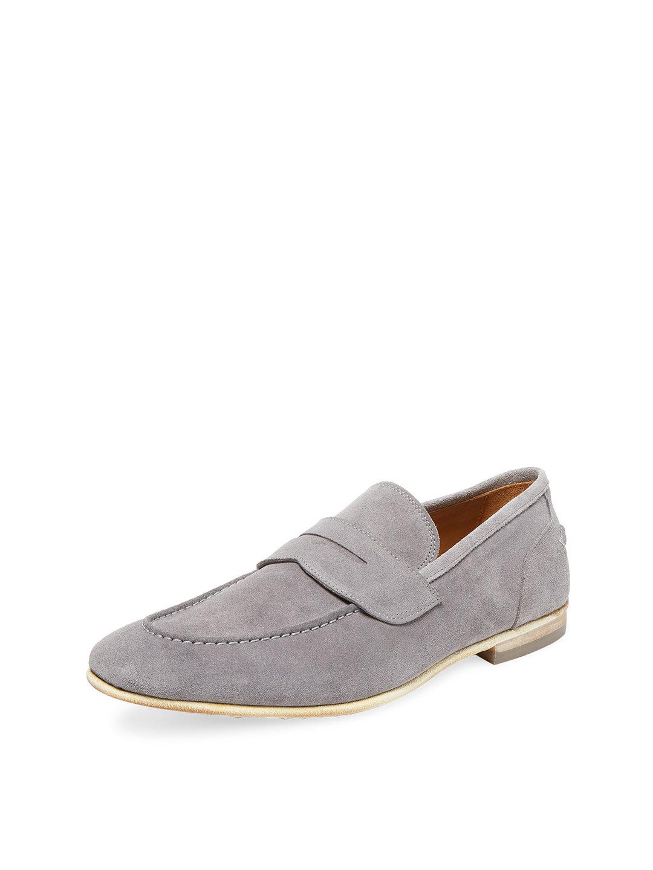 【65%OFF】スエード ローファー グレー 8.5 ファッション > 靴~~メンズシューズ