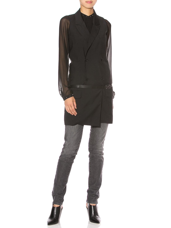 【70%OFF】テーラード ベルテッド ダブル ロングベスト ブラック 42 ファッション > レディースウエア~~ベスト