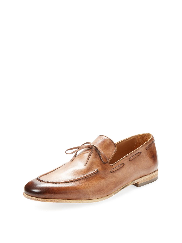 【65%OFF】レザー リボン ローファー ライトブラウン 9.5 ファッション > 靴~~メンズシューズ