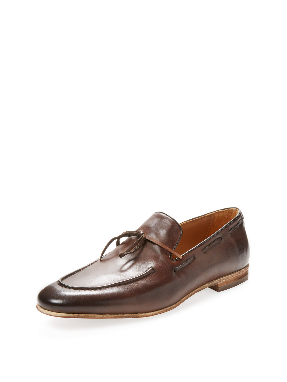 【65%OFF】レザー リボン ローファー ダークブラウン 9.5 ファッション > 靴~~メンズシューズ