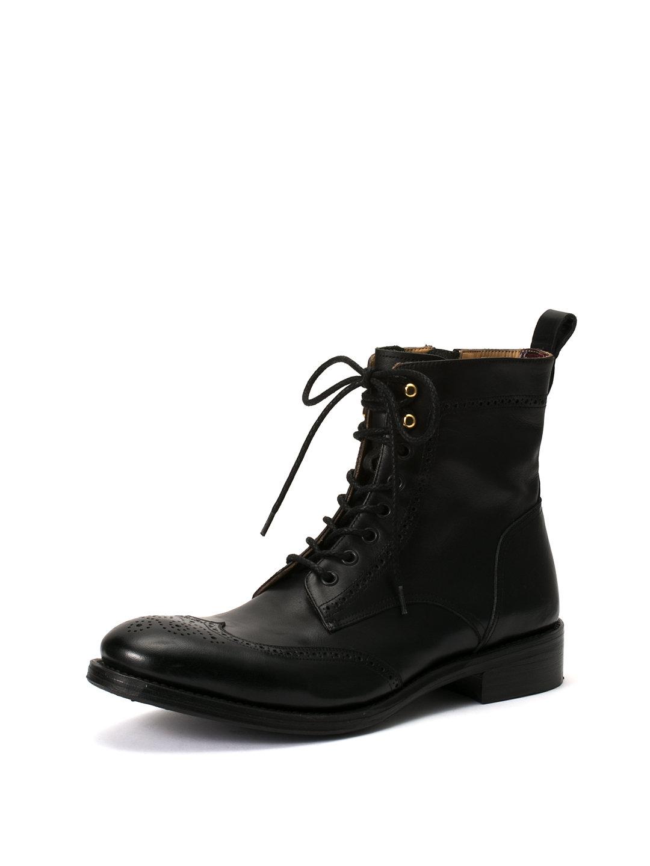 【60%OFF】レザー ウィングチップ サイドジップ レースアップブーツ ブラック 42 ファッション > 靴~~メンズシューズ