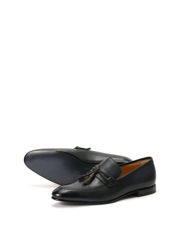 【59%OFF】レザー タッセル Uチップ ローファー ブルー 42.5 ファッション > 靴~~メンズシューズ